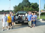 Volunteers at City Hall electronics recycling event